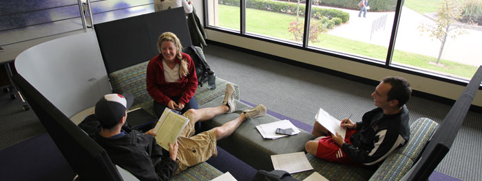 Students doing homework in a lounge